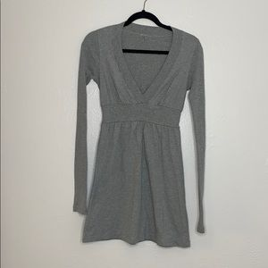 James Perse gray long sleeve cotton dress v neck S